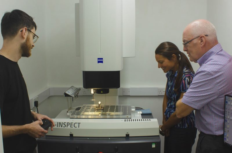 Jack, Hymid's Junior Designer, is showing Phil and Kathryn from SWMAS the Ziess CMM